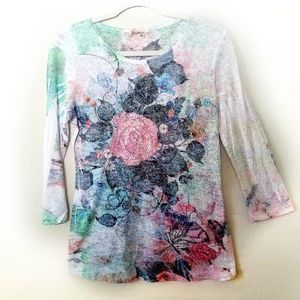 EUC Floral Long Sleeve Tee Womens Size Small